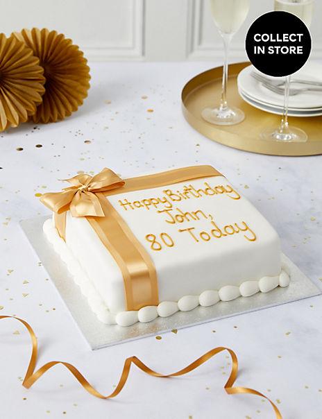Personalised Celebration Sponge Cake with Gold Ribbon (Serves 30)