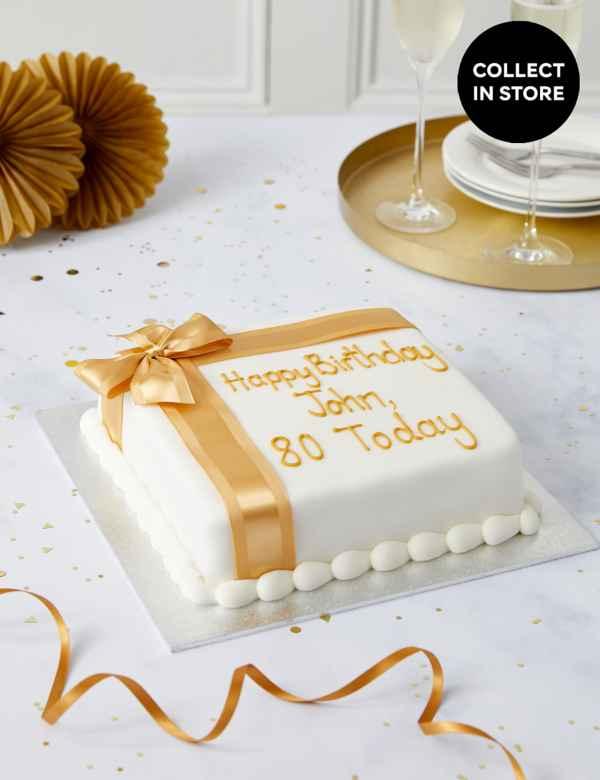 Personalised Celebration Sponge Cake With Gold Ribbon Serves 30