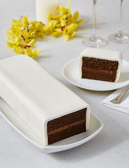 Wedding Cutting Bar Cake - Chocolate with Ivory Icing (Serves 22)