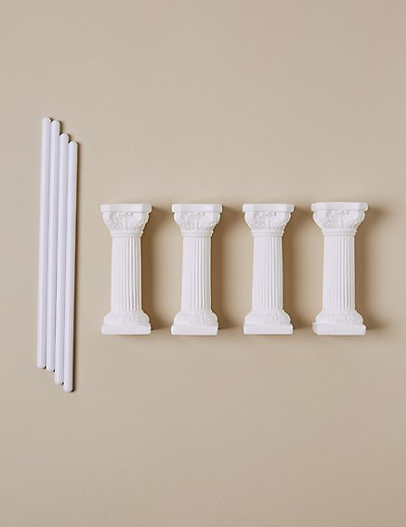 4 White Pillars & 4 Dowels - Wedding Cake Accessories