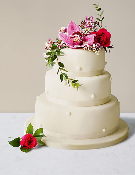 Romantic Pearl Wedding Cake with Ivory Icing (Serves 140-160)