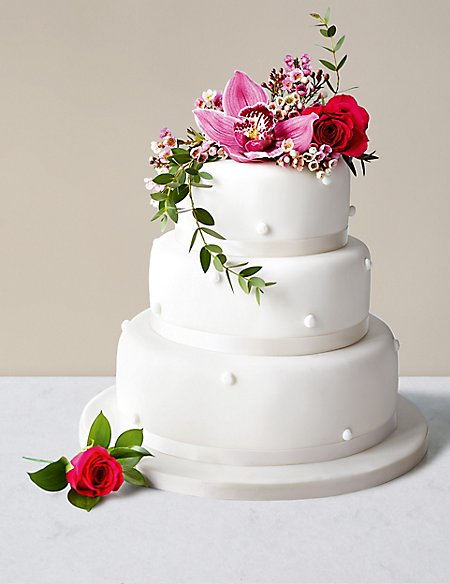 Romantic Pearl Wedding Cake with White Icing (Serves 140-160)
