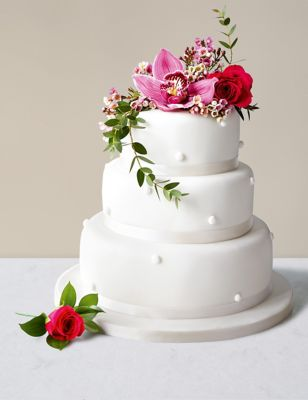 Romantic Pearl Wedding Cake with White Icing Assorted Flavours