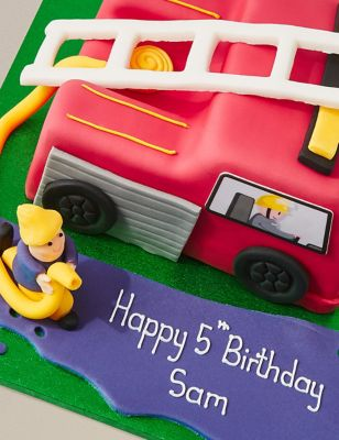 Phenomenal Personalised Fire Engine Cake Serves 42 Last Day To Collect Funny Birthday Cards Online Alyptdamsfinfo