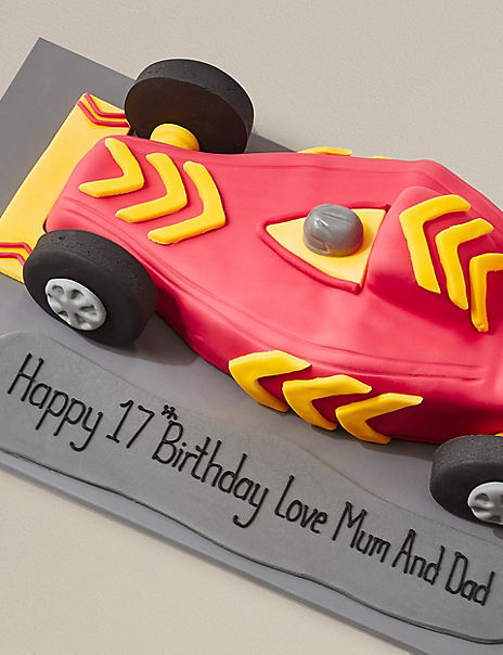 Personalised Racing Car Cake with Sound Effects (Serves 35)