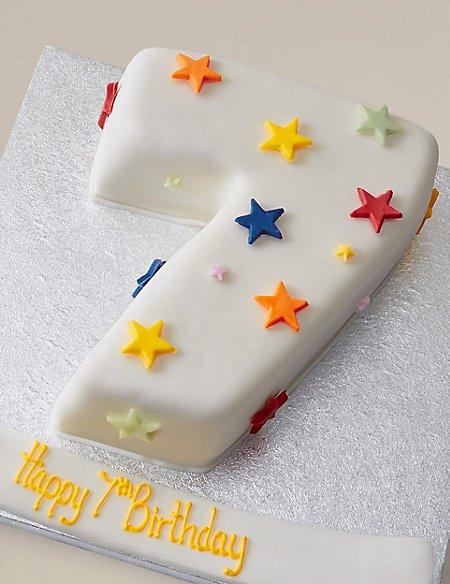 Personalised Stars Number Sponge Cake - Single Digit (Serves 20)