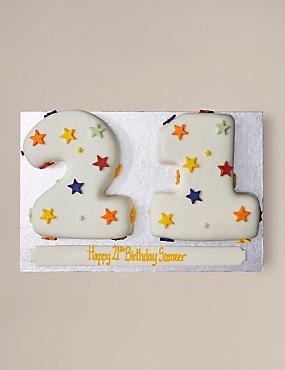 Stars Numbers Sponge Cake Double Digit (Serves 40)