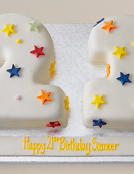 Personalised Stars Numbers Sponge Cake Double Digit (Serves 40)