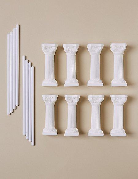 8 White Pillars & 8 Dowels - Wedding Cake Accessories