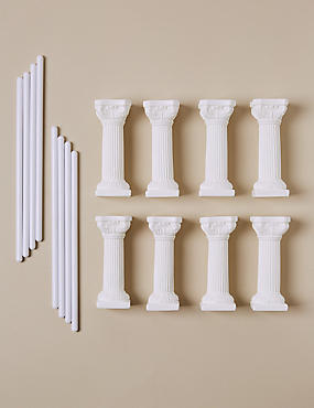 8 White Pillars & 8 Dowels - Wedding Cake Accessories