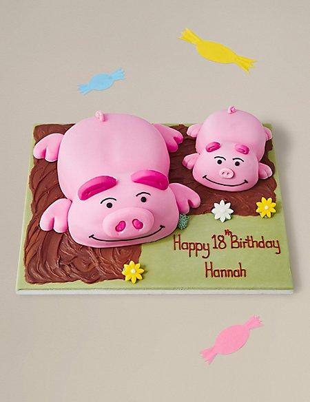 Personalised Percy Pig & Piglet™ Cake (Serves 26)