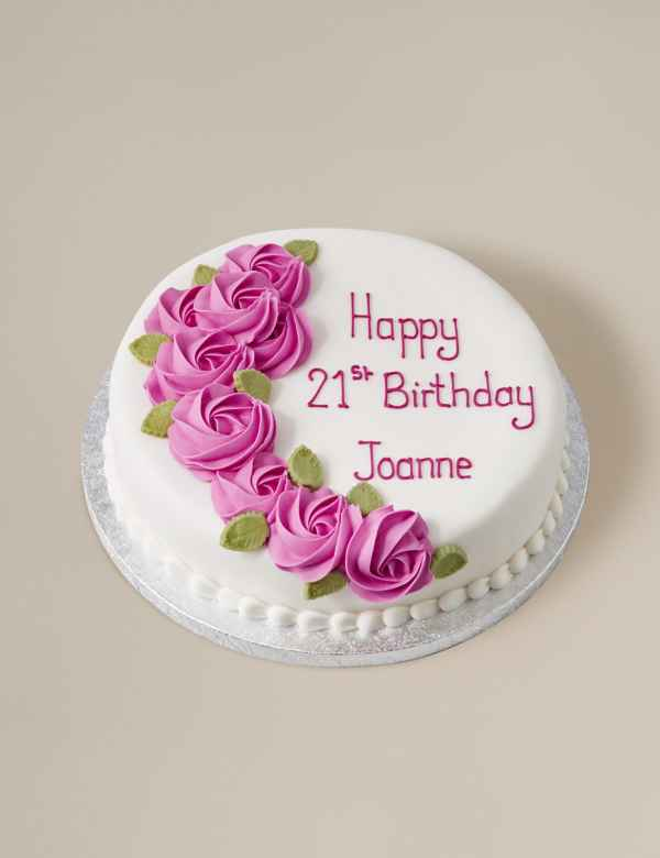 Personalised Piped Rose Pink Round Sponge Cake Serves 32