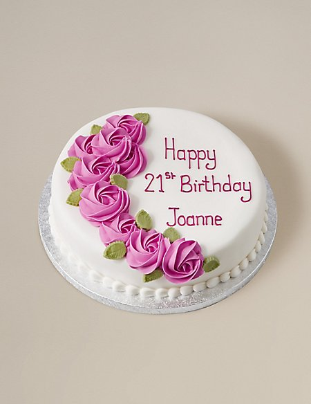 Personalised Piped Rose Pink Round Chocolate Cake Serves 32