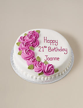 Personalised Piped Rose Pink Round Chocolate Cake (Serves 32)