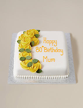 Personalised Piped Rose Yellow Square Chocolate Cake (Serves 30)