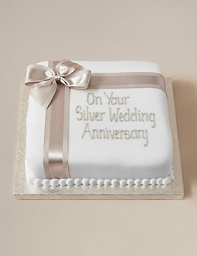 Personalised Celebration Silver Ribbon Fruit Cake - Gluten Free (Serves 44)