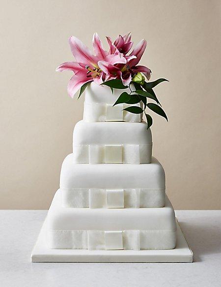 4 Tier Elegant Wedding Cake – Assorted Flavours with Lemon (Serves 200)