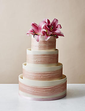 Shimmering Hoop Chocolate Wedding Cake White Pink Serves 110