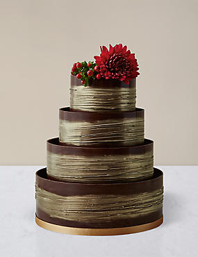 Gold Shimmering Hoop Wedding Cake – Chocolate Sponge (Serves 110)