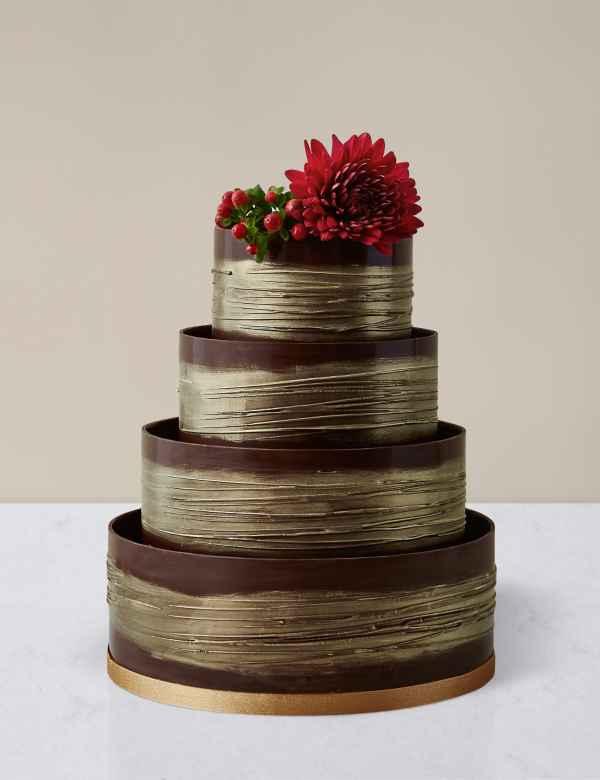 Gold Shimmering Hoop Wedding Cake Chocolate Sponge Serves 110