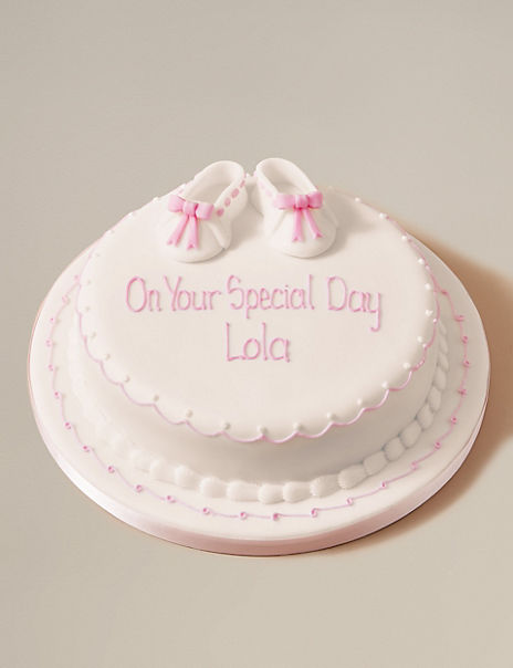 Personalised Little Boots Christening Cake - Sponge - Pink (Serves 30)