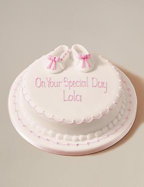 Personalised Little Boots Cake - Sponge - Pink (Serves 30)