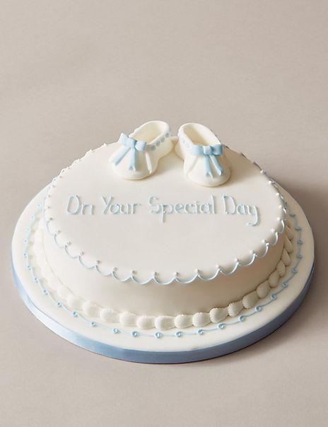 Personalised Little Boots Christening Cake - Sponge - Blue (Serves 30)