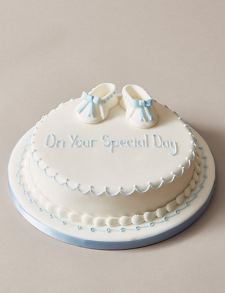 Personalised Little Boots Christening Cake - Sponge - Blue (Serves 30)