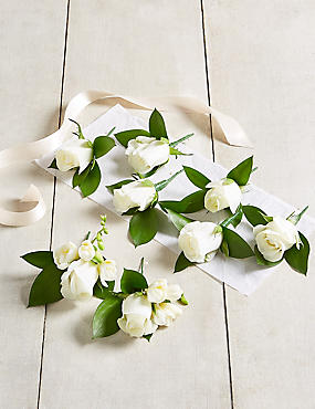 White Rose & Freesia - Buttonhole Wedding Party Package