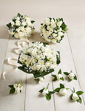 White Rose & Freesia – Large Wedding Party Package