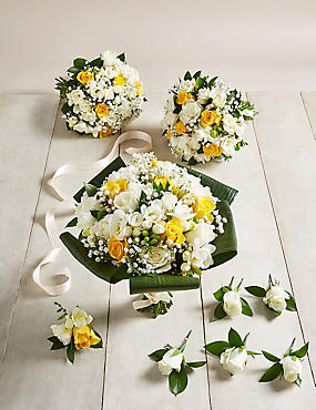 Yellow & White Rose & Freesia - Large Wedding Party Package
