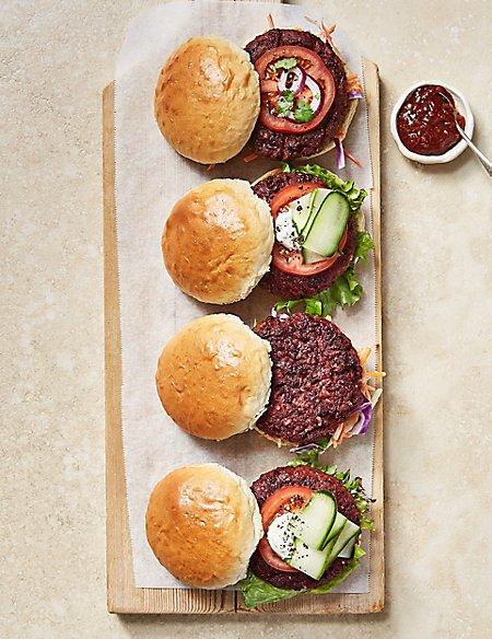 Veggie Lentil & Beetroot Burgers (4 Pieces)