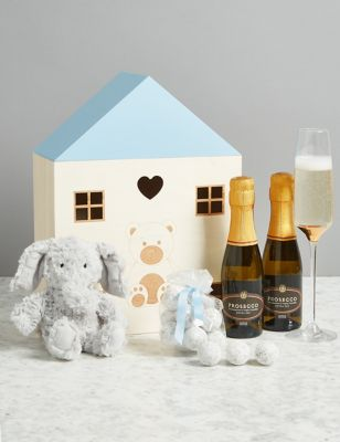 Baby Boy Gift with Prosecco Marc de Ch&agne Truffles u0026 Soft Toy & Baby Shower | Present u0026 Gift Ideas For Baby Shower | Mu0026S
