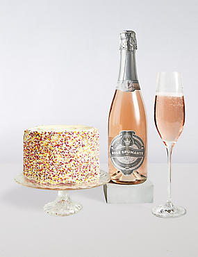 Pink Birthday Cake & Sparkling Rose Gift Box