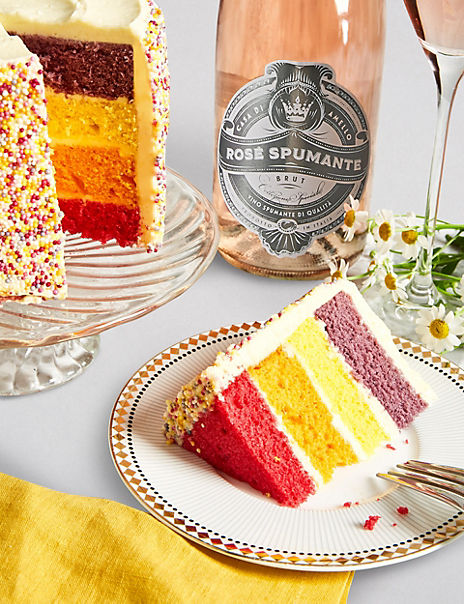 Happy Birthday Rainbow Cake with Sparkling Rosé Gift Set