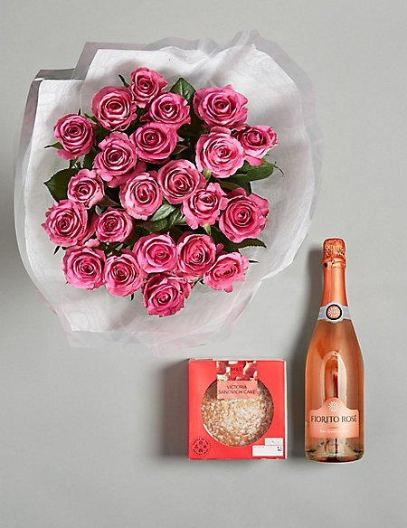 The Victoria Celebration Gift with Flowers and Pink Sparkling Wine
