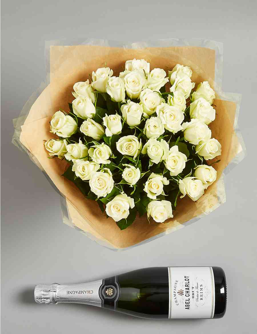 The Hestercombe Celebration Gift With White Roses And Champagne Ms