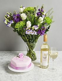 The Summer Bouquet, Cake & Wine Trio Gift Set