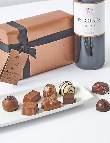 Red Wine & Italian Chocolates Gift Selection