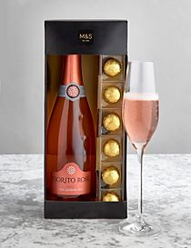 The Collection Pink Sparkling Wine & Heart Chocolates