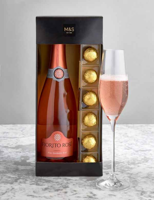 The Collection Pink Sparkling Wine Chocolates Gift Set