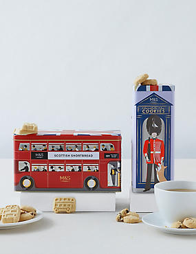 Shortbread Bus and Telephone Biscuit Tins