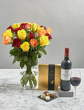 Autumnal Roses, Red Wine and Belgian Chocolates