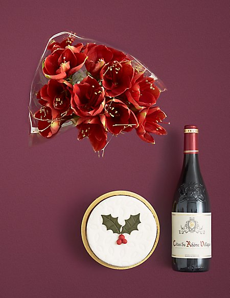 Red Amaryllis, Christmas Cake & Red Wine Festive Gift Selection (Available for delivery from 14th Nov 2018)
