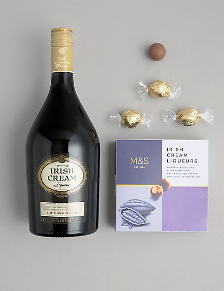 Traditional Irish Cream Liqueur and Truffles Gift Selection