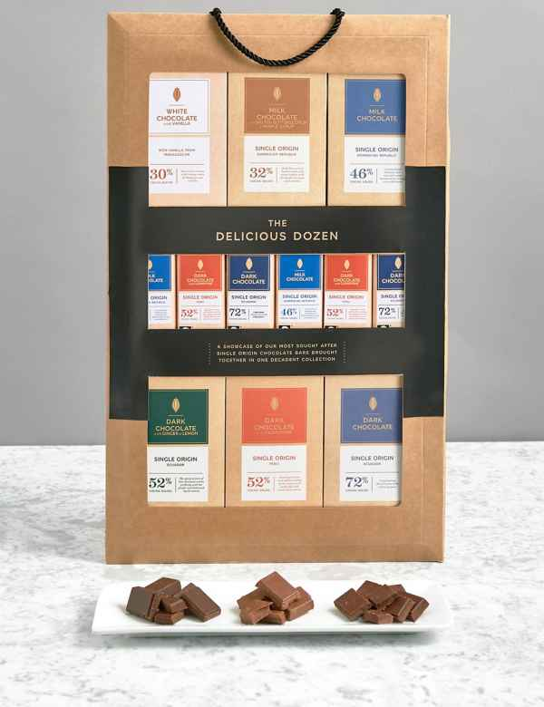 Delicious Dozen 12 Assorted Single Origin Chocolate Bars