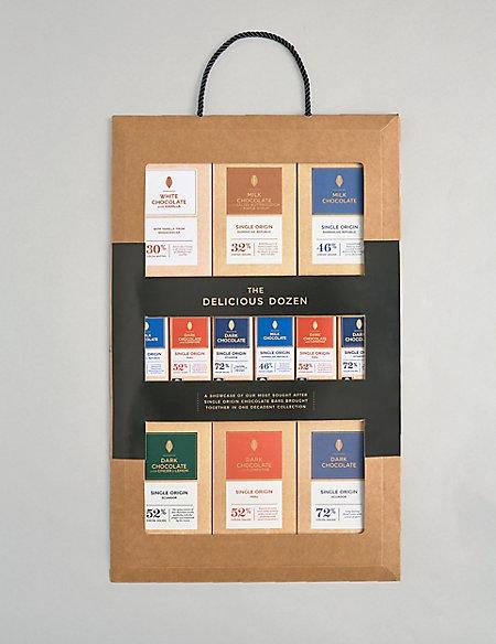 Delicious Dozen – 12 Assorted Single Origin Chocolate Bars
