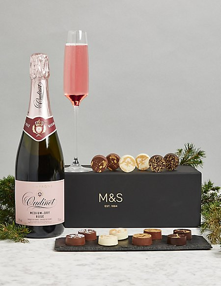 The Collection Rose Champagne & Chocolates Gift Box