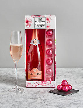 Pink Casa d'Amello Sparkling Wine and Chocolates Gift Set