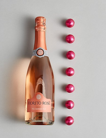 The Collection Pink Sparkling Wine & Chocolates Gift Set